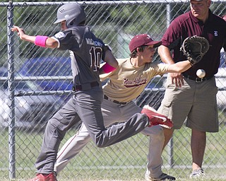William D Lewis the Vindicator  Boardman's Troy Waliszewski(10) is safe at 1rst as New Albany's 1rst baseman Jake Areschiel(64) waits for the throw.