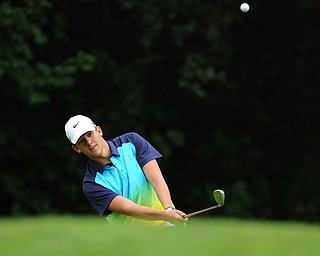 Avery Andric of Lisbon chips his ball from the short rough and onto the green on on a hole on the back 9 Sunday afternoon at Trumbull Country Club.