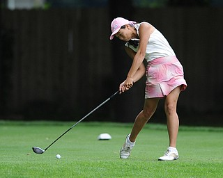 Jacinta Pikunas tees off on a hole on the back 9 Sunday afternoon at Trumbull Country Club.