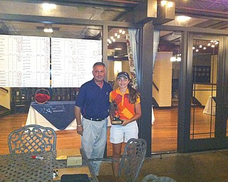 Jenna Vivo stands with Trumbull Country Club Head Pro John Diana after winning the 12-14 girls division of the Greatest Golfer of the Valley presented by Farmers National Bank played Sunday, July 28, 2013.