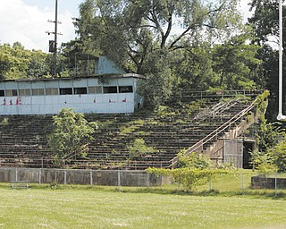 The concrete bleachers at the South High Fieldhouse football field are falling apart and will be demolished in the fall.