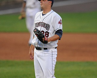 Scrappers pitcher #28 Michael Goodnight reacts after missing the strike zone on a pitch.