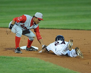 Lowell infielder #7 Tzu-Wei Lin tags out scrappers base runner #24 Brian Ruiz who was attempting to stretch a single into a double in the bottom of the 6th inning. This would end this inning.
