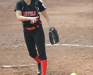 Canfield pitcher #33 Kayla Troxil throws a pitch during the top of the 7th inning.