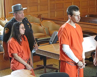 From left, Mindy Sierrra of Niles and Michael Burns of Mineral Ridge   were arraigned Thursday in Trumbull County Common Pleas Court on   charges of murder, attempted aggravated burglary, and involuntary   manslaughter. The murder charge relates to the death of Terry Allen,   who police say was shot to death by the occupant of a house on state   Route 46 in Niles where Sierra, Burns and two other people went July   12 to steal copper.