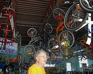 MADELYN P. HASTINGS | THE VINDICATOR..Owner of Rail to Trail adult tricycle store in Lisbon, Wayne Wallace, talks about his bike store. The store in No. 1 in the world for sales of the Catrike tricycles. ... - -30-..