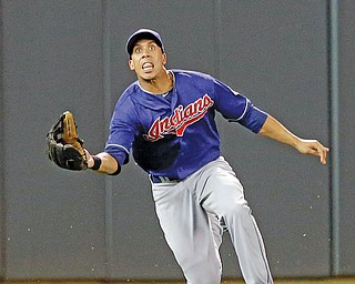 Cleveland Indians left fielder Michael Brantley eyes a shallow pop fly before making the catch on a ball hit by the Minnesota Twins' Clete Thomas in the sixth inning Monday night.