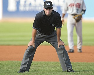New York-Penn League umpire John Mang, an Austintown native, works during a recent Mahoning Valley Scrappers game at Eastwood Field. Mang was selected to umpire in tonight's NYPL All-Star Game.