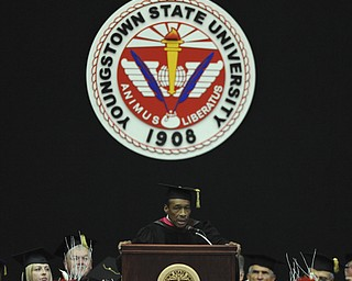 Alfred Bright gives the commencement address during the summer commencement ceremony Saturday morning at Beeghley Center.