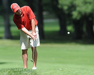 Golfer Brian Horne of Youngstown chips his ball onto the green from the fairway on the 9th hole on the north course Friday afternoon at Mill Creek Golf Corse part of the Vindy Greatest Golfer on August 23, 2013.