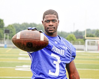 MADELYN P. HASTINGS | THE VINDICATOR..L.J. Scott for the Hubbard football team, poses for a portrait at the Fitch Stadium on Saturday, July 27.... - -30-..