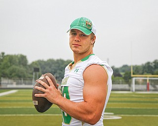 MADELYN P. HASTINGS | THE VINDICATOR..Chris Durkin for the Ursuline football team, poses for a portrait at the Fitch Stadium on Saturday, July 27.... - -30-..