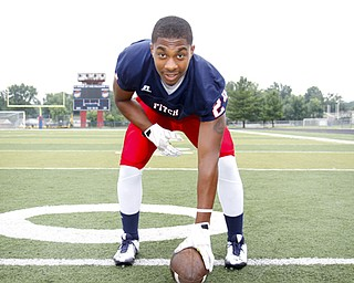 MADELYN P. HASTINGS | THE VINDICATOR..Darrin Hall for the Austintown Fitch football team, poses for a portrait at the Fitch Stadium on Saturday, July 27.... - -30-..