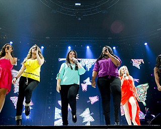 MADELYN P. HASTINGS | THE VINDICATOR..(L-R) Aubrey Cleland, Angie Miller, Kree Harrison, Candice Glover, Janelle Arthur, and Amber Holcomb perform in the American Idol Live! tour at the Covelli Centre on Sunday, August 25, 2013.... - -30-..