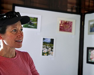 MADELYN P. HASTINGS | THE VINDICATOR..Linda Lambert of Bethesda, MD admires the artwork on display in the LantermanÕs Mill art show which ran Friday-Sunday on the second floor of the mill. Artwork included photographs, paintings, and drawings..... - -30-..