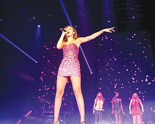 "Aubrey Cleland sings Beyonce's ""Sweet Dreams"" on Sunday at the Covelli Centre, where the ""American Idol Live!"" tour made a stop for the first time in Youngstown."