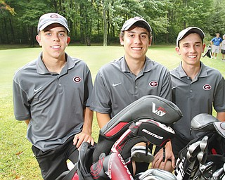Three members of the Standohar family play on the Girard High golf team. From left are senior Jimmy Standohar, senior Evan Standohar and sophomore Mark Standohar. Evan and Mark are brothers and Jimmy is their cousin. Girard is 6-0 this season and has won 30 consecutive dual matches dating back to 2011.