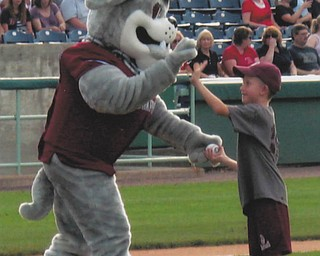 Nine-year-old Jason Sweder, a Vindicator Most Valuable Kid of Boardman Community Baseball League, gives Scrappy a high five after pitching  to him at a Scrappers game. Jason is the son of Jeff and Christie Sweder. Sent by Grandma Mary Ann Sweder.