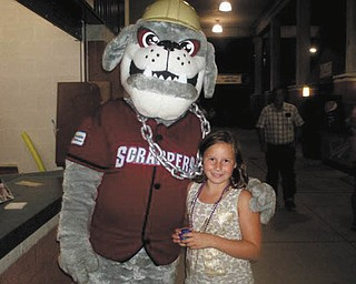 Madalyn Smith of Boardman met Scrappy during a Scrappers baseball game. Sent in by her grandma, Patty Hoover.