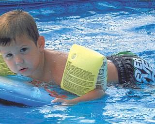Xavier Nelson, 4, is enjoying Grandma and Pap's pool. Sent by Kathy Mackall.