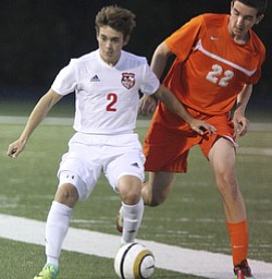 William D. Lewis the Vindicator  Canfield'sChristian Hume(2) and Howland's Matt Hardaway(22) battle for the ball during 10 -3 action at Canfield.
