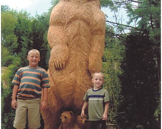 Brothers Carter and Austin Close of Alliance are caught visiting the Akron Zoo. Photo by grandmother Colleen Close of Beloit.