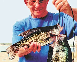 """Annette McCarthy of Austintown captured this photo of her husband, Jim, after a successful day of fishing in Babson Park, Fla. Catch of the day were two """"crappies,"""" better known as """"specs"""" to the Southerners."""