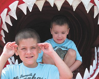 Tony and Jason of Hubbard, are being eaten by a shark at Ocean City, Md. Could summer be more fun than that? Taken by Grandma Laura Gonzalez of Hubbard.