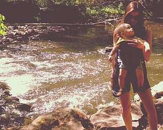 Finnegan Scott Gable and his mom, Carly are taking in the sites at Mill Creek Park.