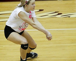 MADELYN P. HASTINGS | THE VINDICATOR..Boardman's Megan Volosin (4) bumps the ball during their game against Fitch at Boardman High School on Saturday, October 5, 2013. Boardman won three consecutive games. ... - -30-..