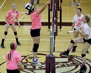 MADELYN P. HASTINGS | THE VINDICATOR..(L-R) Fitch's Maura Bianco (9) misses a spike by Boardman's Amanda Lipke (17) during their game at Boardman High School on Saturday, October 5, 2013. Boardman won three consecutive games. .... - -30-..