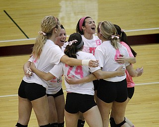 MADELYN P. HASTINGS | THE VINDICATOR..The Boardman varisty volleyball team reacts after playing well in their first two games against Fitch at Boardman High School on Saturday, October 5, 2013. Boardman went on to win three consecutive games. .... - -30-..