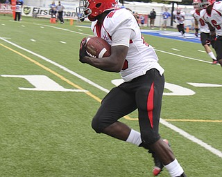Youngstown State's Jameel Smith (26) looks for blockers after intercepting the ball during the first quarter of  Saturday nights matchup at Indiana State University in Terre Haute, Indiana. Smith returned the interception 95 yards for a touchdown. Dustin Livesay  |  The Vindicator  10/05/13  Indiana State University.