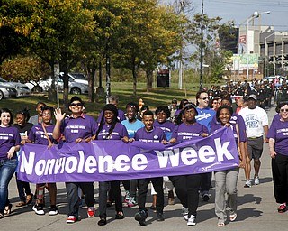 MADELYN P. HASTINGS | THE VINDICATOR..Students of the Sojourner to the Past group led in a parade to kick off nonviolence week in downtown Youngstown on Sunday, October 6, 2013.... - -30-..