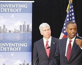 State-appointed emergency manager Kevyn Orr, right, and Michigan Gov. Rick Snyder address reporters during a news conference in Detroit after Orr asked a federal judge for bankruptcy protection. Though no other city is expected to join Detroit in bankruptcy court anytime soon, Detroit's bankruptcy is casting a shadow over a long list of cities across the U.S. and giving mayors new urgency in the search for solutions to the greatest challenge to face America's cities in a generation.