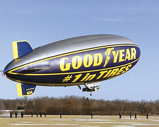 The Goodyear Tire and Rubber Co. blimp Spirit of Goodyear lifts off from the company's Winged Foot Lake facility in Suffield, Ohio, during its first day of flight testing. Like many elderly Ohioans, the Spirit of Goodyear is retiring to Florida. The 13-year-old airship will make its final departure from Akron on Friday and will fly out of Goodyear's Pompano Beach dock until it is decommissioned next year.