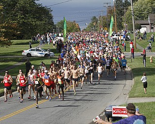 .          ROBERT  K. YOSAY | THE VINDICATOR..And they are off as the runners head east on Kirk Rd...The 39th Annual Peace Race -  with over 2000 runners on a beautiful October day