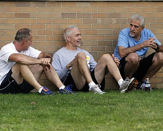 .          ROBERT  K. YOSAY | THE VINDICATOR..swapping race strategy before the big run is Tod Davis of Hermitage - John Regginello  of Hermitage and Frank Horvath of Sharon..The 39th Annual Peace Race -  with over 2000 runners on a beautiful October day