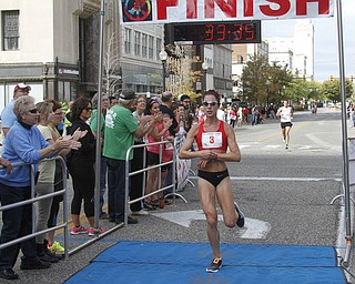 .          ROBERT  K. YOSAY | THE VINDICATOR..The womens winner is Jessica Adorcic of Madison.. ck spelling..The 39th Annual Peace Race -  with over 2000 runners on a beautiful October day