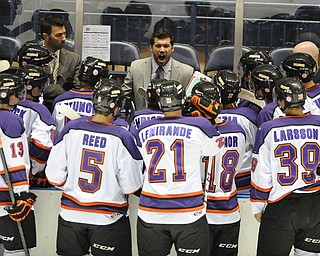 Phantoms head coach Anthony Noreen attempts to motivate his players during a officials time out during 3rd period action of a game on Friday October 18, 2013.