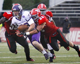 MADELYN P. HASTINGS | THE VINDICATOR..YSU's Terrell Williams (59) and Kyle Sirl (33) tackle Western Illinois' Nathan Knuffman (33) during Youngstown's homecoming game on October 19, 2013.... - -30-..