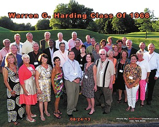 SPECIAL TO THE VINDICATOR At the Grand Pavilion in Warren, the Warren G. Harding High School Class of 1968 gathered for a reunion on Aug. 24. Classmates, left to right, in the front row are Kathy (Terpin) Denko, Janet (Hall) Howsare, Donna (Holt) McCord, Linda (Good) Fabrizio, Mayor Hank Angelo, Linda (Ferlito) Hood, Tim Harrold and Susan (Naylor) Adams. In the second row are John Conley, Mark Terpin, Robert Stewart, James Natale, Greg Madyek, Jean (Wagner) Burnet, Patricia (DeMattio) Mozingo, Bonnie (Ulam) Bailey, Georgene (Lane) Lucy, Cathy (Cox) Young and Jerry Cox. In the back row are Richard Mosco, Dr. Thomas Montgomery, Frank Tempesta, Ron Zelenak, Andy Tenekedes, Bernie Novotny, Bill Cope, Tim Menz, Carmella (Neilson) Stecyk, Barbara (Wagner) Chestnut, Valerie Vine, Darlene (Owen) Hoffman, John Cross, Dave Barran and John Radu. The group has begun planning for the 50th reunion in 2018. For information or to volunteer call 330-219-2216.