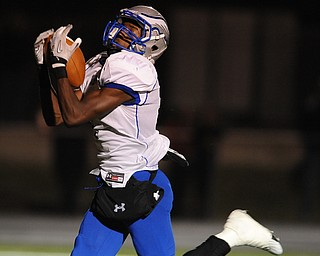 Hubbard #1 Darnell Tate catches a touchdown pass during the 1st quarter of Friday nights game.