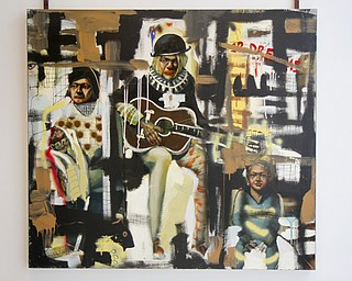 "MADELYN P. HASTINGS | THE VINDICATOR..A painting by John Mellencamp on display at the Butler Museum of Art in Howland. The painting is called ""Twelve Dreams"" 2005, mixed media on canvas, courtesy of the artist.... - -30-.."