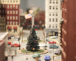 A christmas tree is set up in the middle of a model of downtown Youngstown during the 2013 Youngstown Model Railroad Assosiation openhouse in Austintown on Saturday.  Dustin Livesay  |  The Vindicator  11/2/13  Austintown.