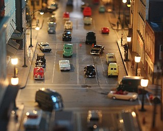 A busy model of Federal St. in downtown Youngstown is set up during the 2013 Youngstown Model Railroad Assosiation openhouse in Austintown on Saturday.  Dustin Livesay  |  The Vindicator  11/2/13  Austintown.