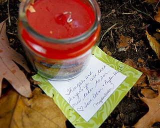 "MADELYN P. HASTINGS | THE VINDICATOR..A candle and note that reads ""Thoughts and prayers for all loved ones taken too soon"" placed at the site of a two vehicle car accident along Connelly Blvd. near the intersection of Route 62. The accident caused three deaths with four others injured at around 10:00 p.m. on Friday, November 10, 2013.  ... - -30-.."