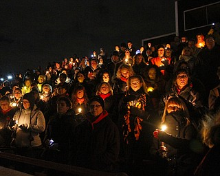 MADELYN P. HASTINGS | THE VINDICATOR..A candle light vigil was held at the Sharon High School stadium on November 10, 2013. A fatal car accident occurring November 8, 2013 involved the deaths of football players Corey Swartz, Evan Gill, and another driver John Zdelar Jr. of Brookfield. ... - -30-..