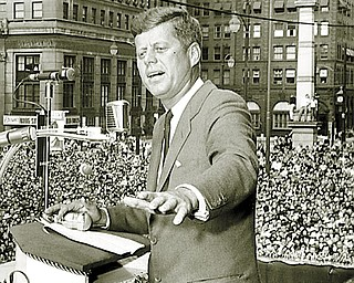 Senator John F. Kennedy speaks in Youngstown's Central Square on Sunday, October 9, 1960, during the presidential race. Photo by Youngstown Vindicator photographer Paul Schell.