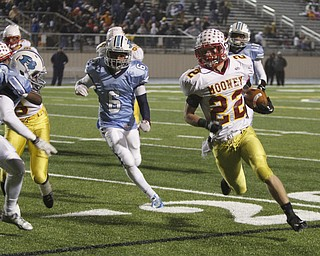 .          ROBERT  K. YOSAY | THE VINDICATOR..#22 mark handel  takes the ball almost to the endzone  (driven out at the two -mooney scored as he is chased by #12 Dom Berdysz and #6 Iman Glanton - for Benedictine..Cardinal Mooney Cardinals vs Cleveland Benedictine Bengals in Solon.....-30-